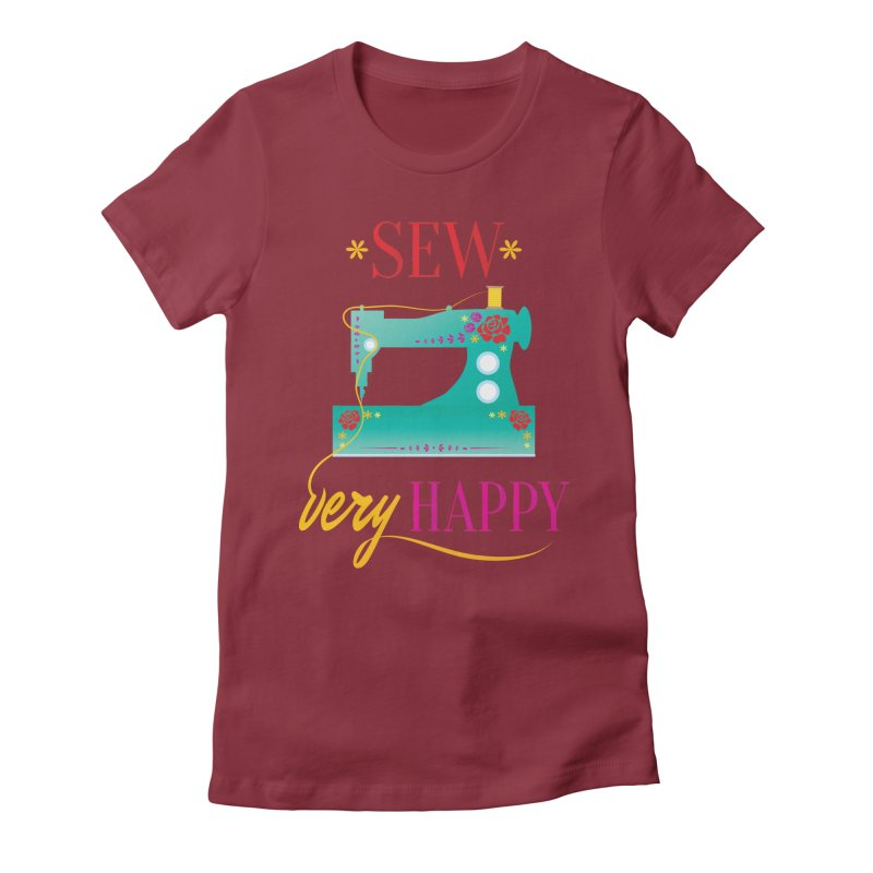 Sew Very Happy Women's Fitted T-Shirt by Haciendo Designs's Artist Shop