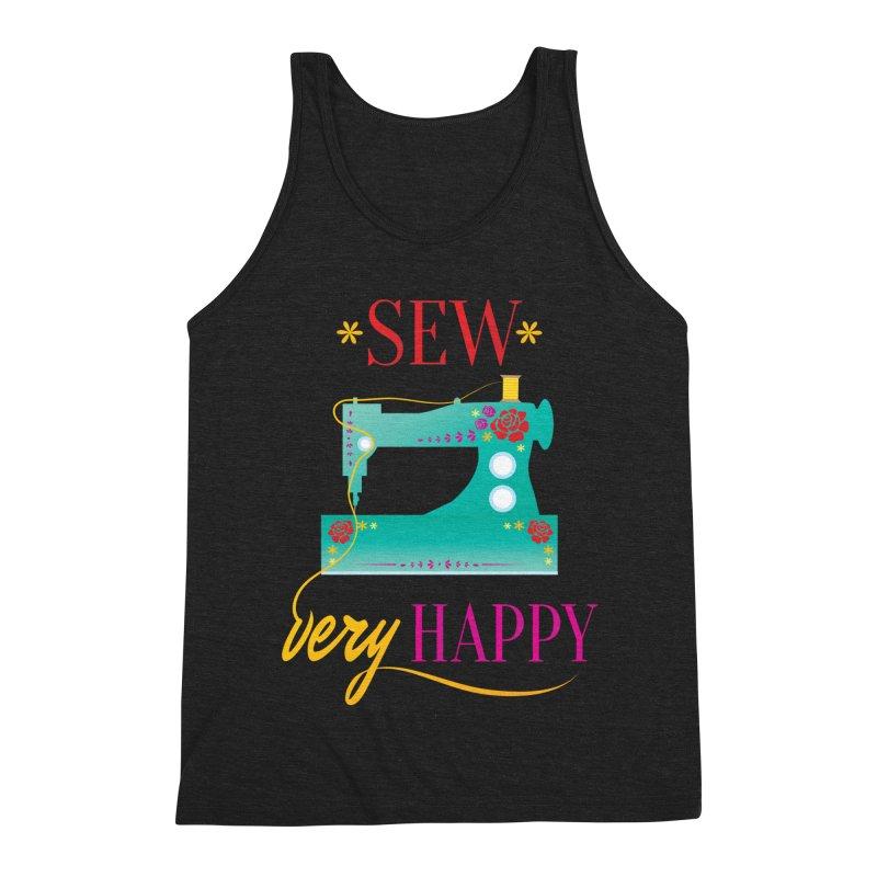 Sew Very Happy Men's Triblend Tank by Haciendo Designs's Artist Shop
