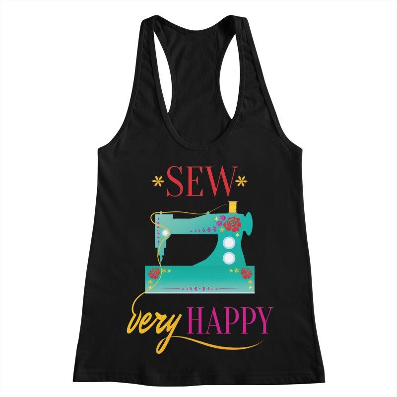 Sew Very Happy Women's Racerback Tank by Haciendo Designs's Artist Shop