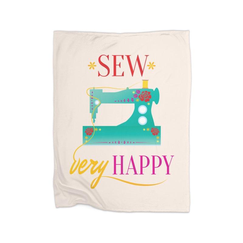 Sew Very Happy Home Fleece Blanket Blanket by Haciendo Designs's Artist Shop