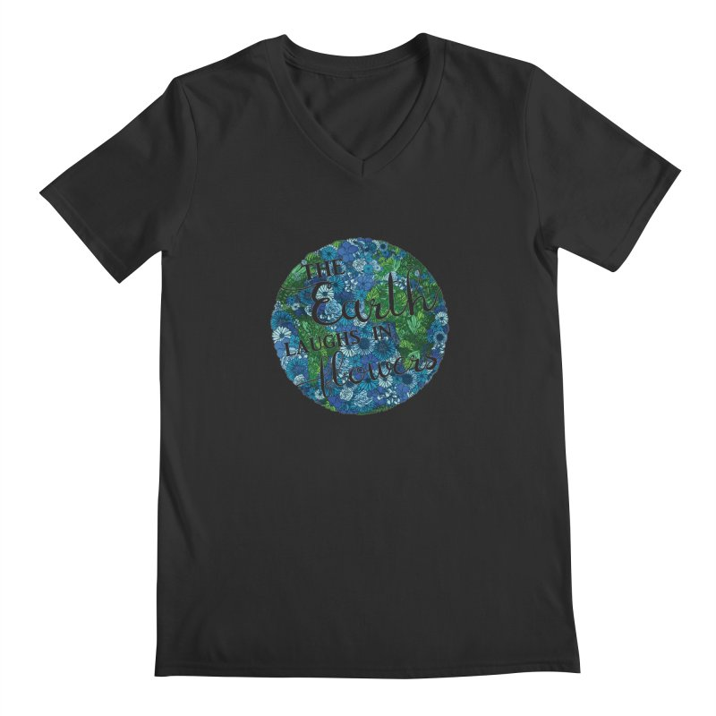 The Earth Laughs in Flowers Men's Regular V-Neck by Haciendo Designs's Artist Shop