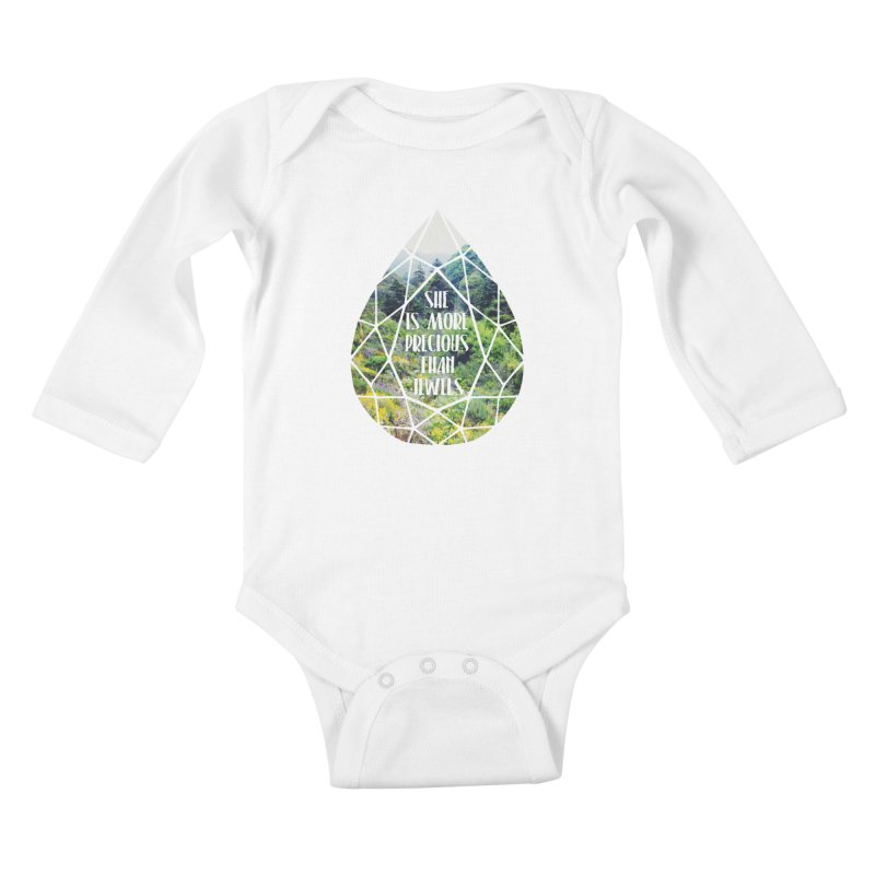 She is More Precious Than Jewels Kids Baby Longsleeve Bodysuit by Haciendo Designs's Artist Shop