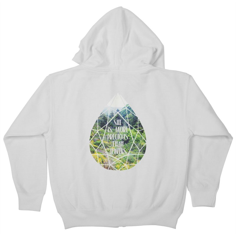 She is More Precious Than Jewels Kids Zip-Up Hoody by Haciendo Designs's Artist Shop