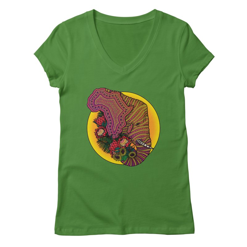 Loxodonta Africana Women's Regular V-Neck by Haciendo Designs's Artist Shop