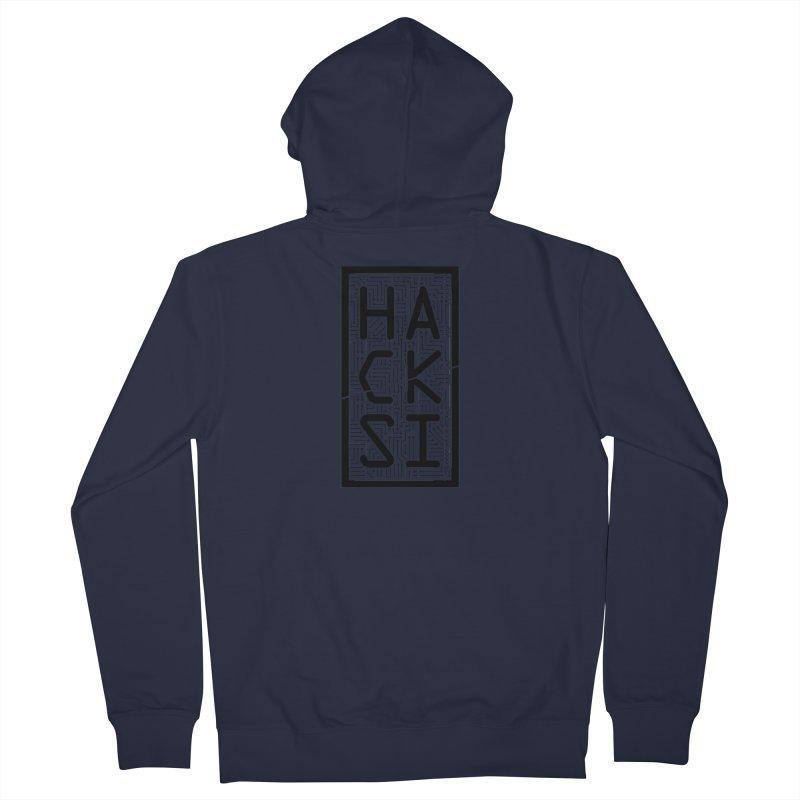 Black HackSI Logo Men's French Terry Zip-Up Hoody by The HackSI Shop