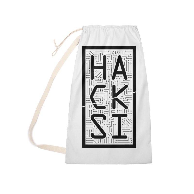 Black HackSI Logo Accessories Laundry Bag Bag by The HackSI Shop