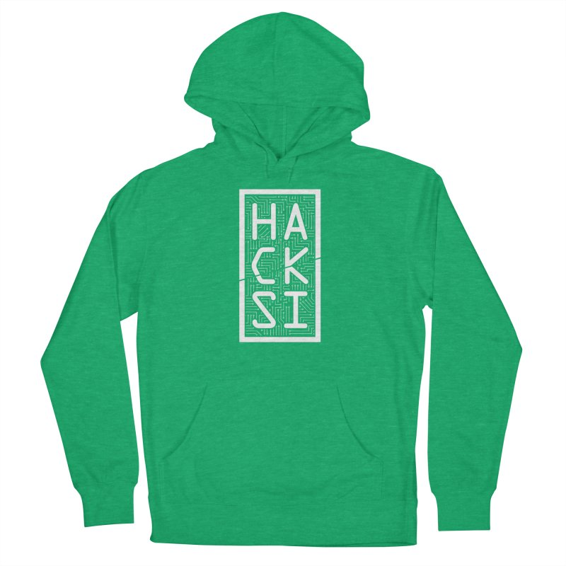 White HackSI Logo Men's French Terry Pullover Hoody by The HackSI Shop