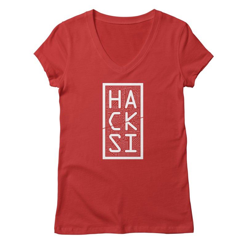 White HackSI Logo Women's V-Neck by The HackSI Shop