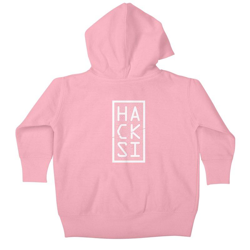 White HackSI Logo Kids Baby Zip-Up Hoody by The HackSI Shop