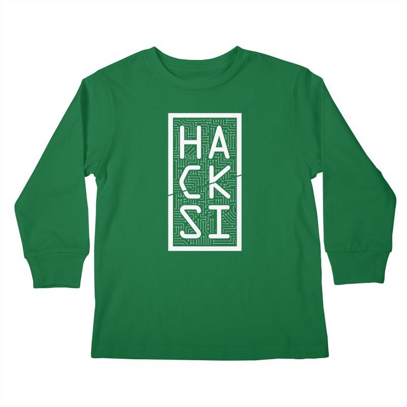 White HackSI Logo Kids Longsleeve T-Shirt by The HackSI Shop
