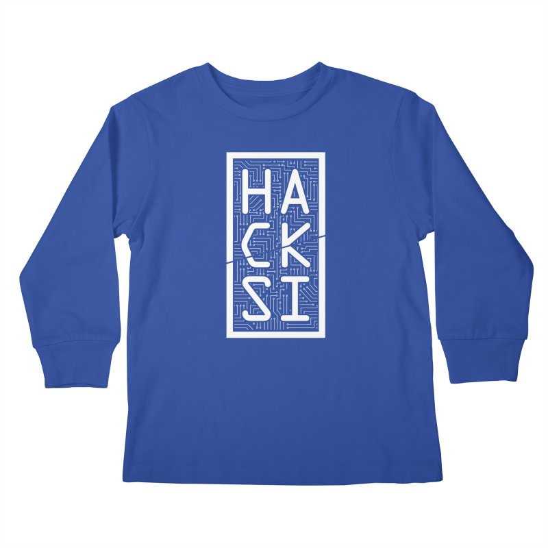 White HackSI Logo Kids Longsleeve T-Shirt by The HackSI Shop