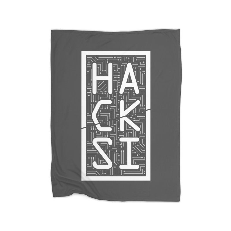 White HackSI Logo Home Fleece Blanket Blanket by The HackSI Shop