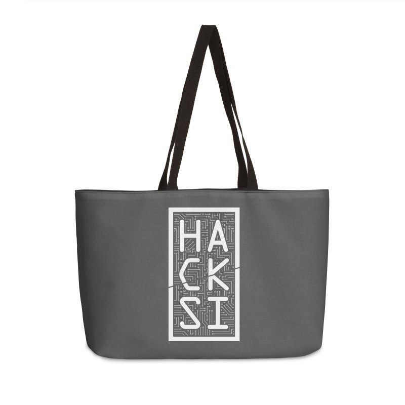 White HackSI Logo Accessories Weekender Bag Bag by The HackSI Shop