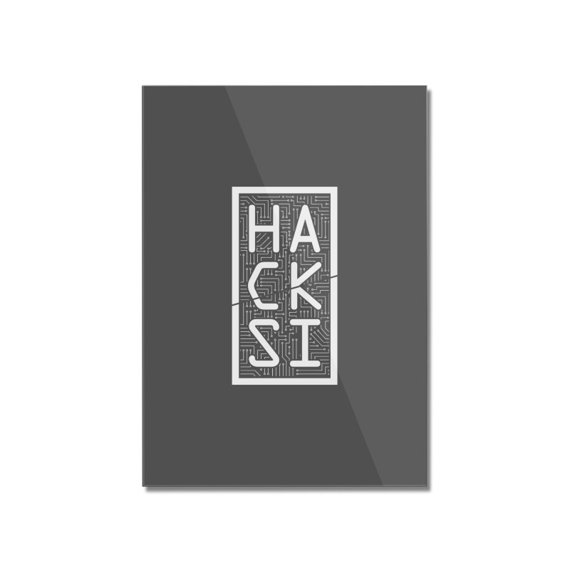 White HackSI Logo Home Mounted Acrylic Print by The HackSI Shop