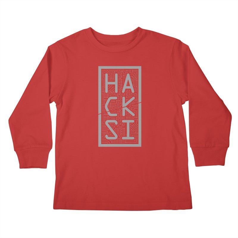 Gray HackSI Logo Kids Longsleeve T-Shirt by The HackSI Shop