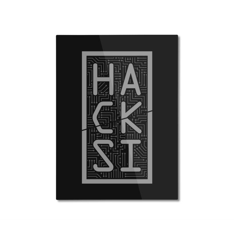 Gray HackSI Logo Home Mounted Aluminum Print by The HackSI Shop