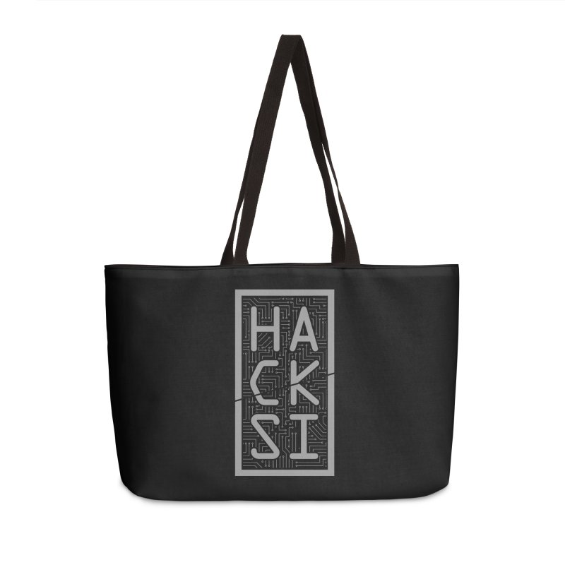 Gray HackSI Logo Accessories Weekender Bag Bag by The HackSI Shop