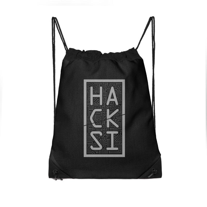 Gray HackSI Logo Accessories Drawstring Bag Bag by The HackSI Shop