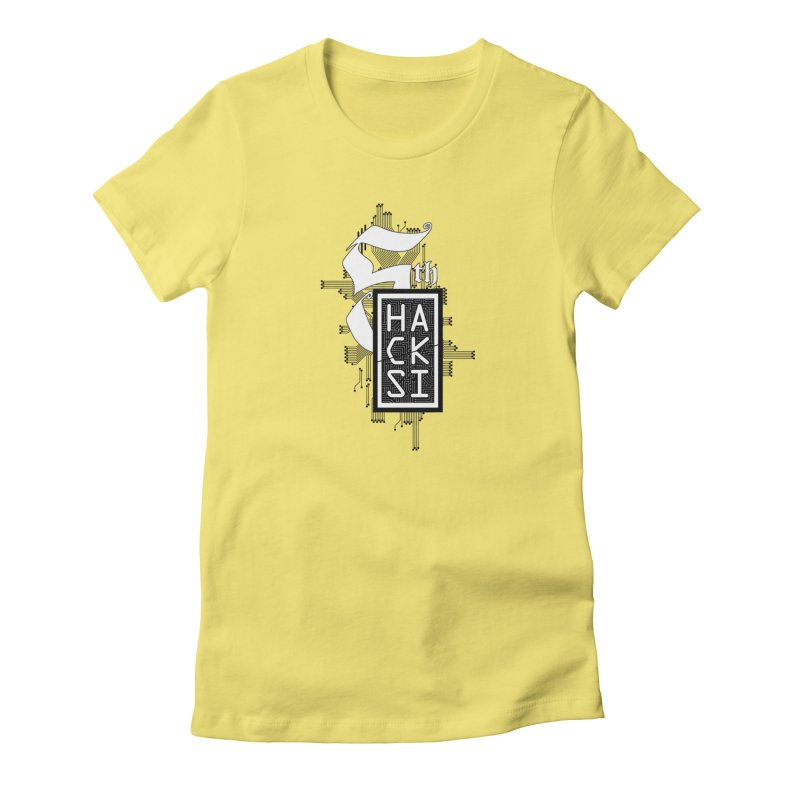 Dark 2017 logo in Women's Fitted T-Shirt Light Yellow by The HackSI Shop