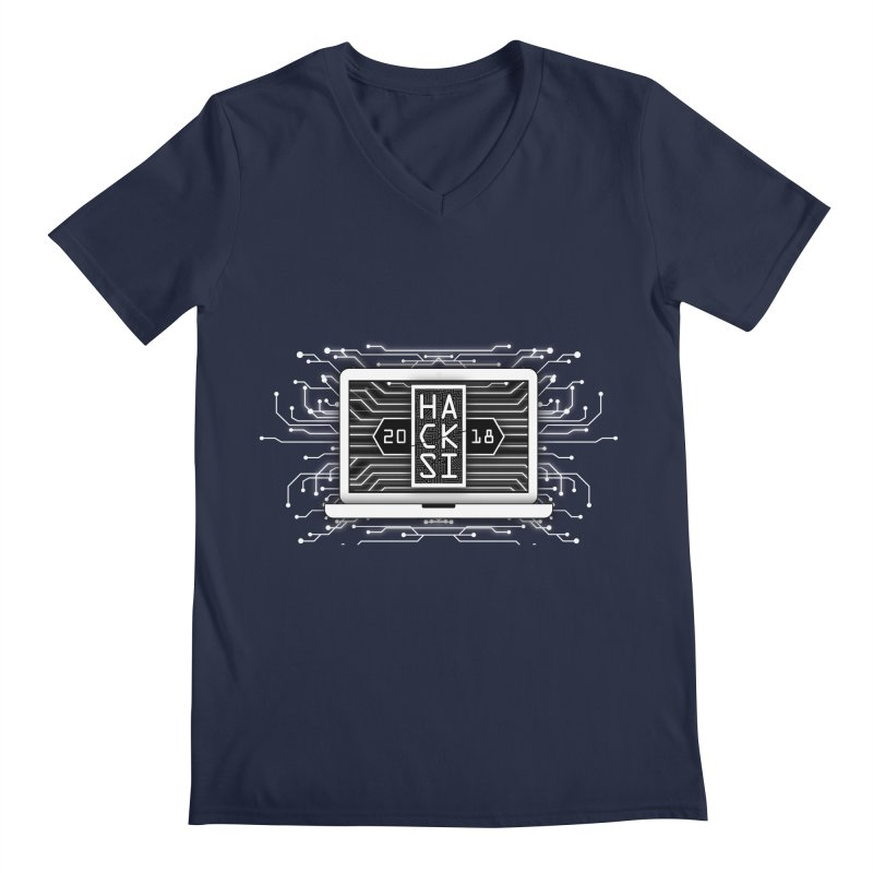 HackSI 2018 Laptop - White Men's Regular V-Neck by The HackSI Shop