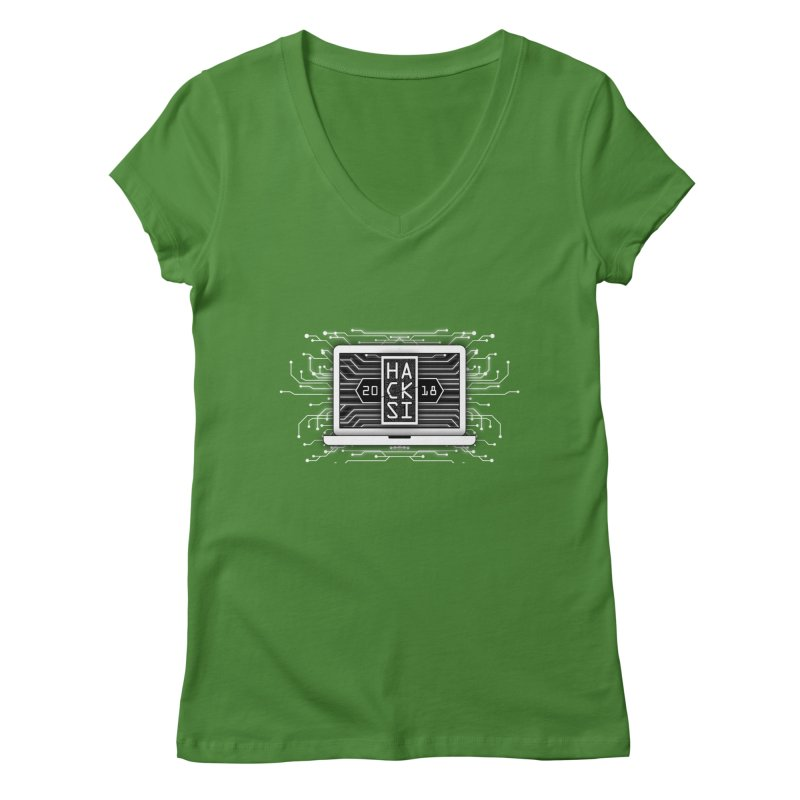 HackSI 2018 Laptop - White Women's Regular V-Neck by The HackSI Shop
