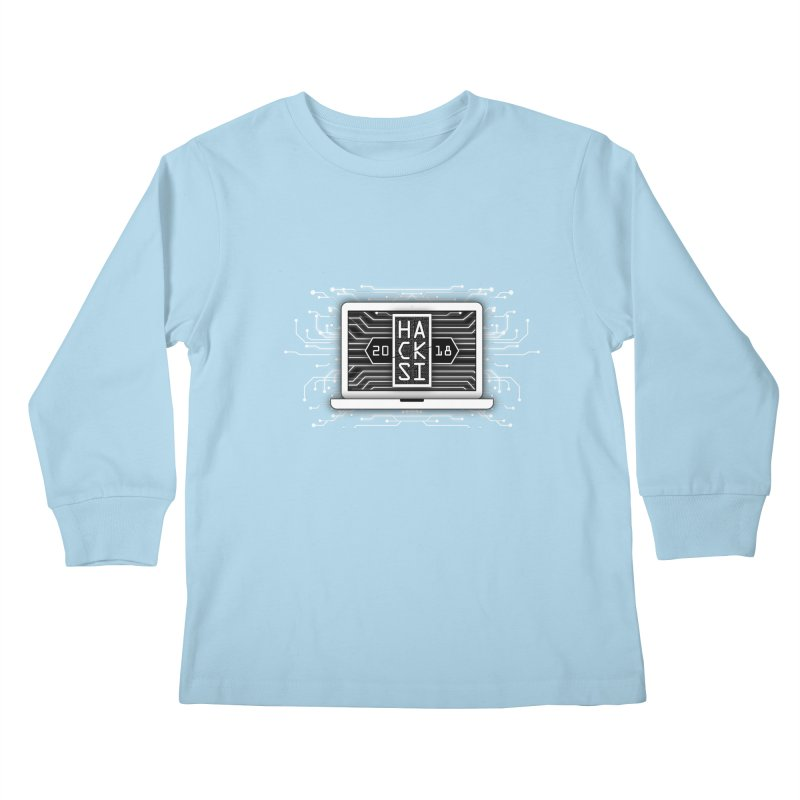 HackSI 2018 Laptop - White Kids Longsleeve T-Shirt by The HackSI Shop