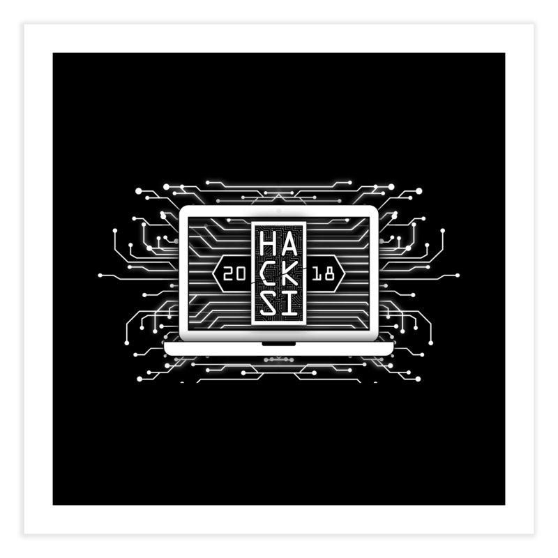 HackSI 2018 Laptop - White Home Fine Art Print by The HackSI Shop