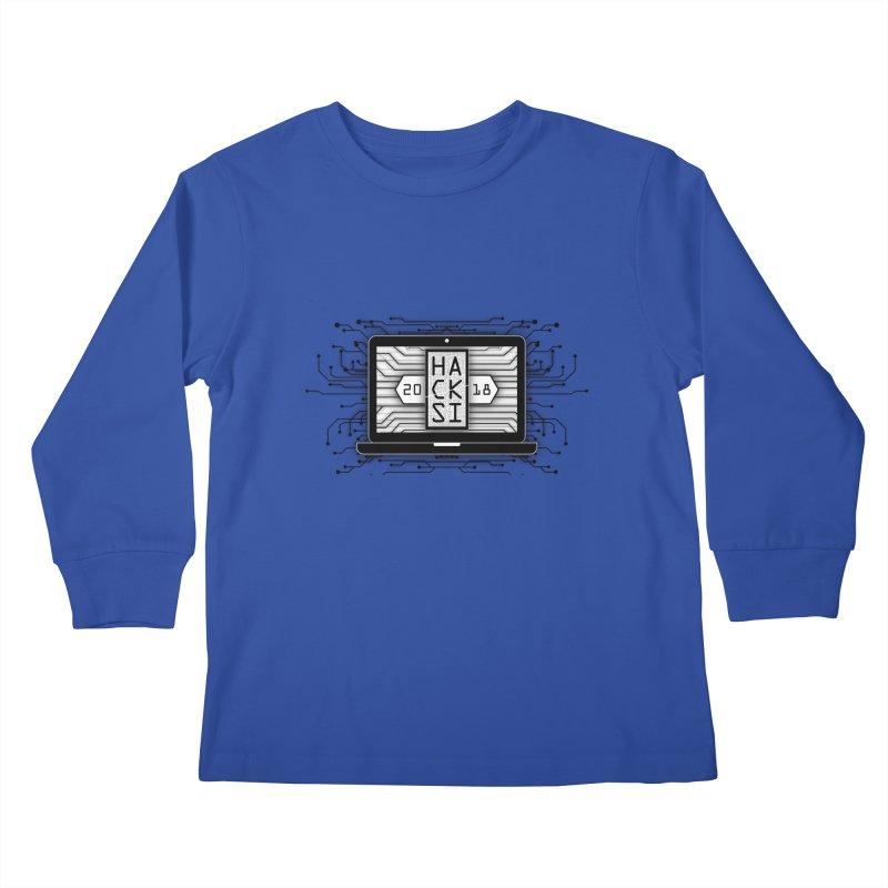 HackSI 2018 Laptop - Black Kids Longsleeve T-Shirt by The HackSI Shop