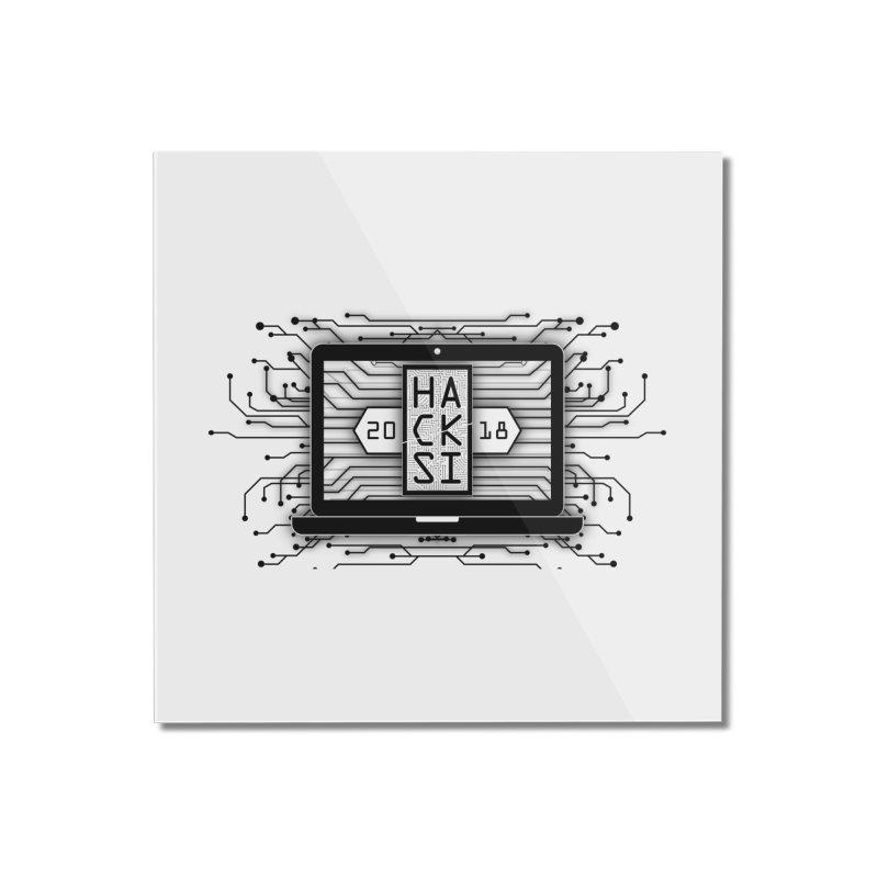 HackSI 2018 Laptop - Black Home Mounted Acrylic Print by The HackSI Shop