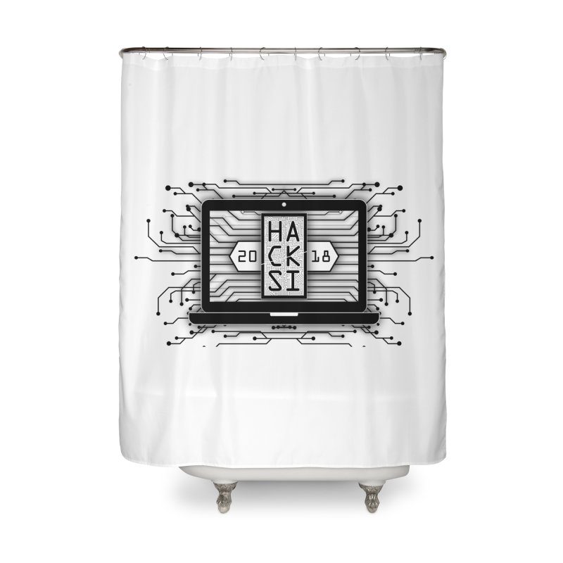 HackSI 2018 Laptop - Black Home Shower Curtain by The HackSI Shop
