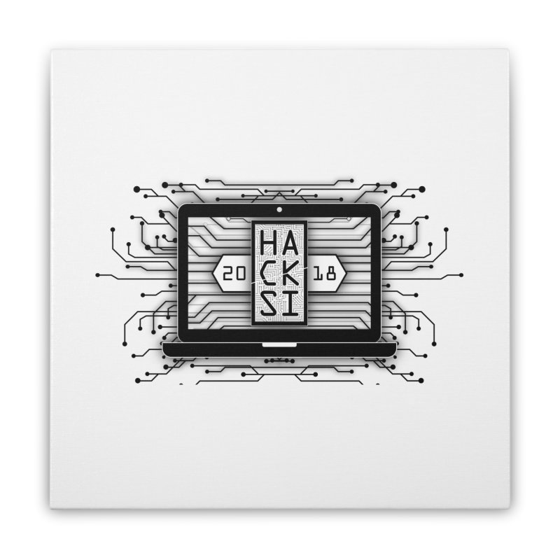 HackSI 2018 Laptop - Black Home Stretched Canvas by The HackSI Shop