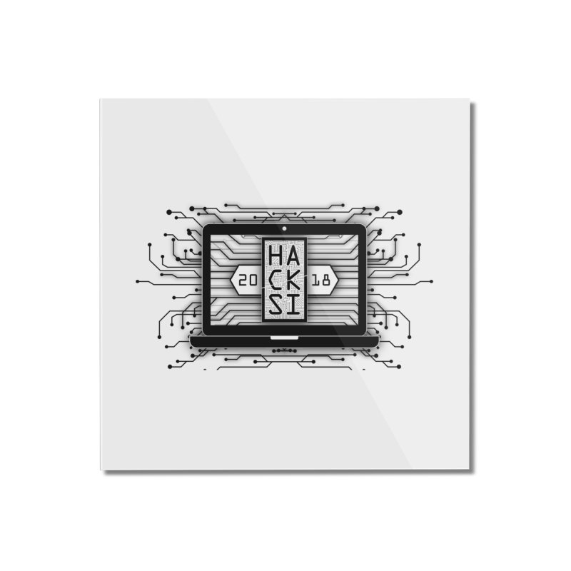 HackSI 2018 Laptop - Black Home Mounted Acrylic Print by The HackSI Shop