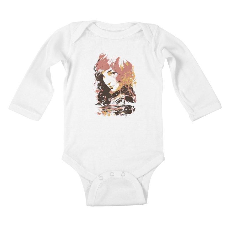 Volcanic Heat Kids Baby Longsleeve Bodysuit by hafaell's Artist Shop