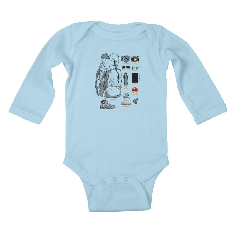 The Explorer Kit Kids Baby Longsleeve Bodysuit by hafaell's Artist Shop