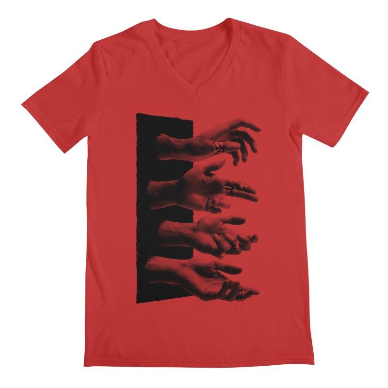 Shy Hands Men's Regular V-Neck by hafaell's Artist Shop
