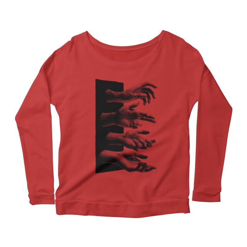 Shy Hands Women's Scoop Neck Longsleeve T-Shirt by hafaell's Artist Shop