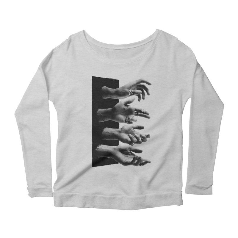 Shy Hands Women's Longsleeve Scoopneck  by hafaell's Artist Shop