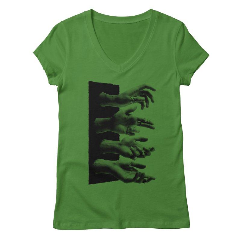 Shy Hands Women's Regular V-Neck by hafaell's Artist Shop