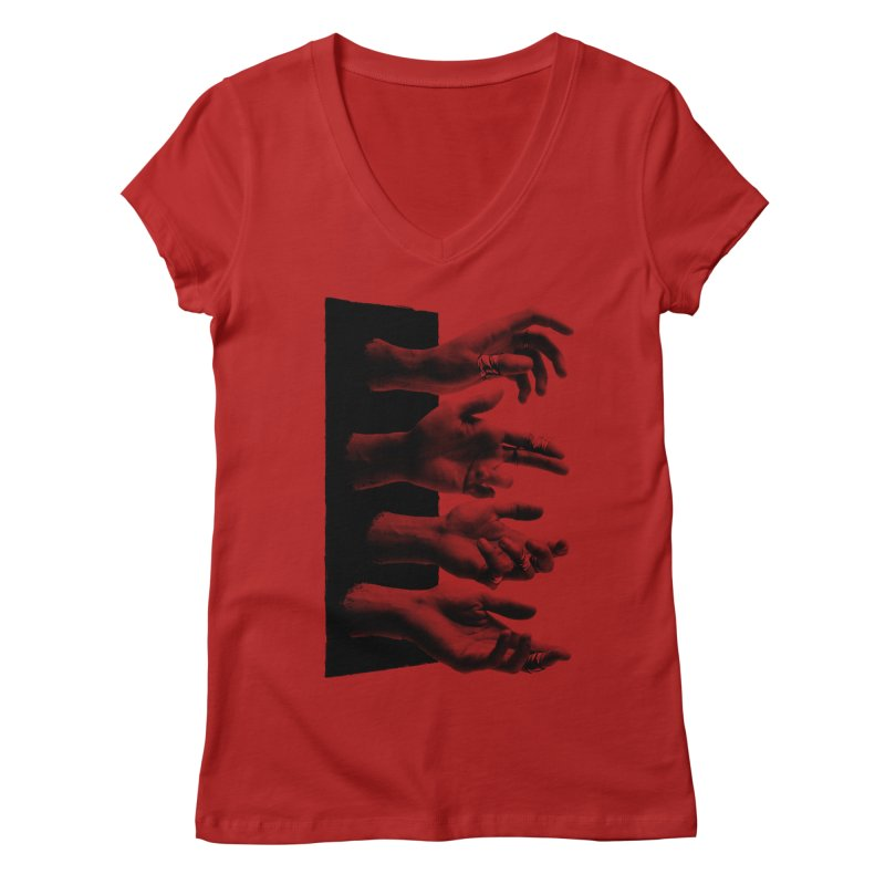Shy Hands Women's V-Neck by hafaell's Artist Shop
