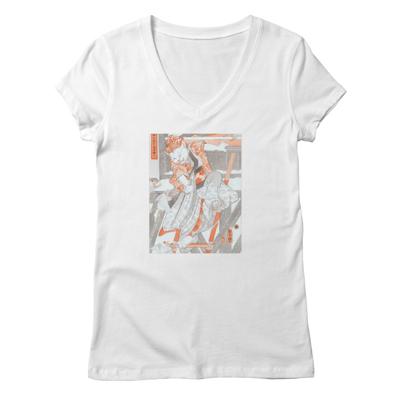Year of the Rooster Series/Attack of the Tengu Women's V-Neck by Hahnga Artist Shop