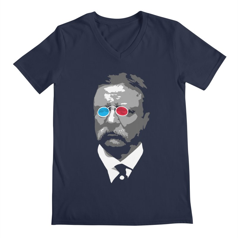 Teddy Roosevelt 3D Men's Regular V-Neck by Hail to the Tees