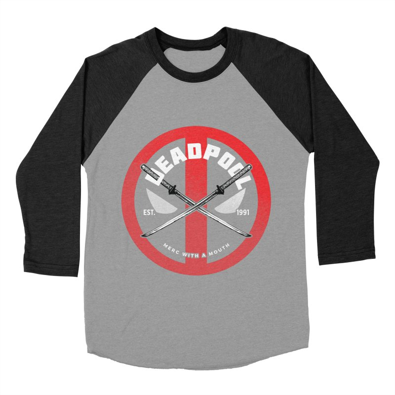 Deapool - Merc with a mouth Men's Baseball Triblend Longsleeve T-Shirt by halfcrazy designs