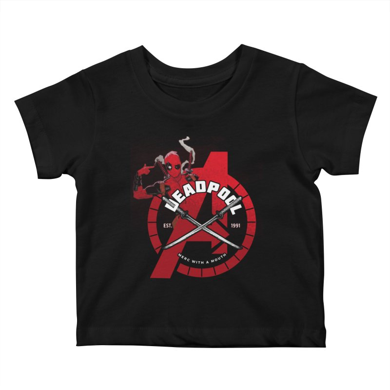 Avengers Assemble: Merc with a mouth Kids Baby T-Shirt by halfcrazy designs