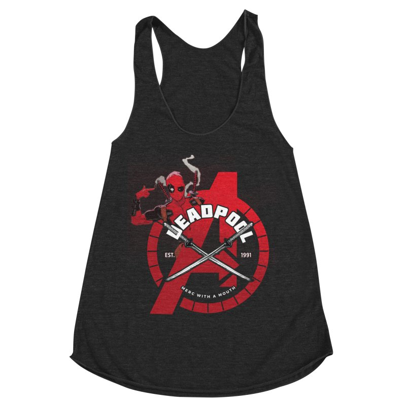 Avengers Assemble: Merc with a mouth Women's Racerback Triblend Tank by halfcrazy designs