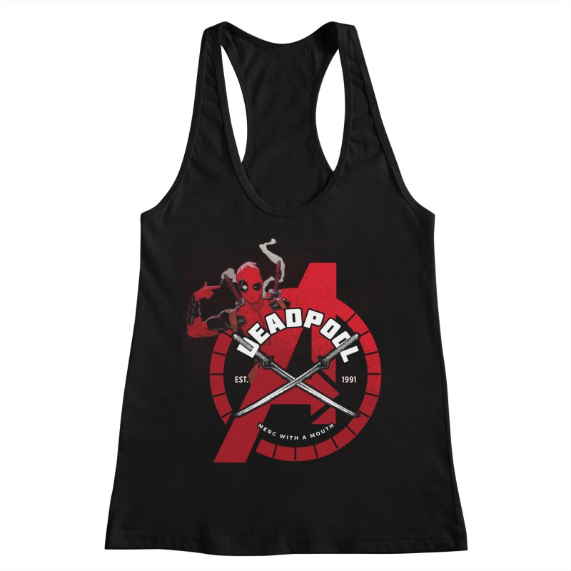 Avengers Assemble: Merc with a mouth Women's Racerback Tank by halfcrazy designs