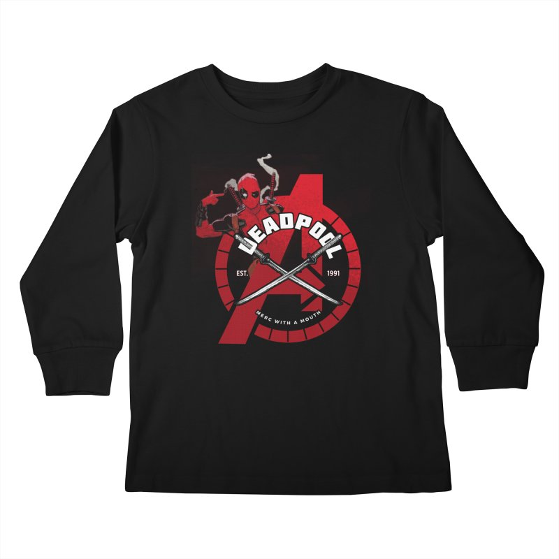 Avengers Assemble: Merc with a mouth Kids Longsleeve T-Shirt by halfcrazy designs