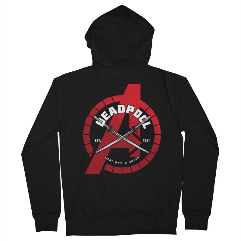 Avengers Assemble: Merc with a mouth Men's French Terry Zip-Up Hoody by halfcrazy designs