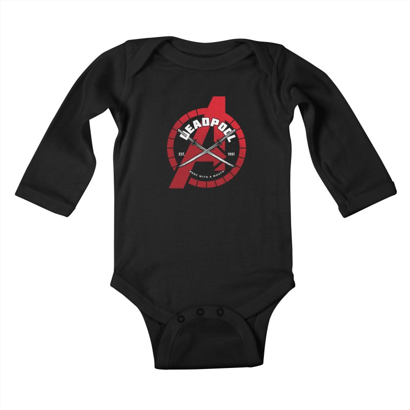 Avengers Assemble: Merc with a mouth Kids Baby Longsleeve Bodysuit by halfcrazy designs