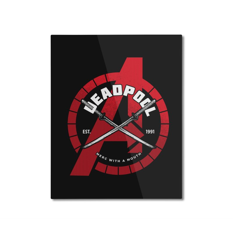 Avengers Assemble: Merc with a mouth Home Mounted Aluminum Print by halfcrazy designs