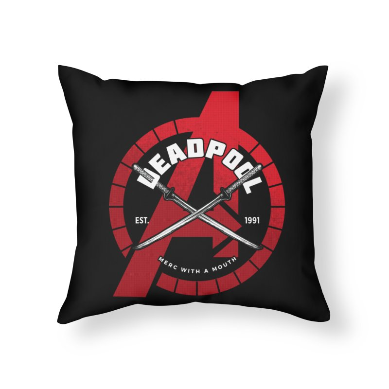 Avengers Assemble: Merc with a mouth Home Throw Pillow by halfcrazy designs
